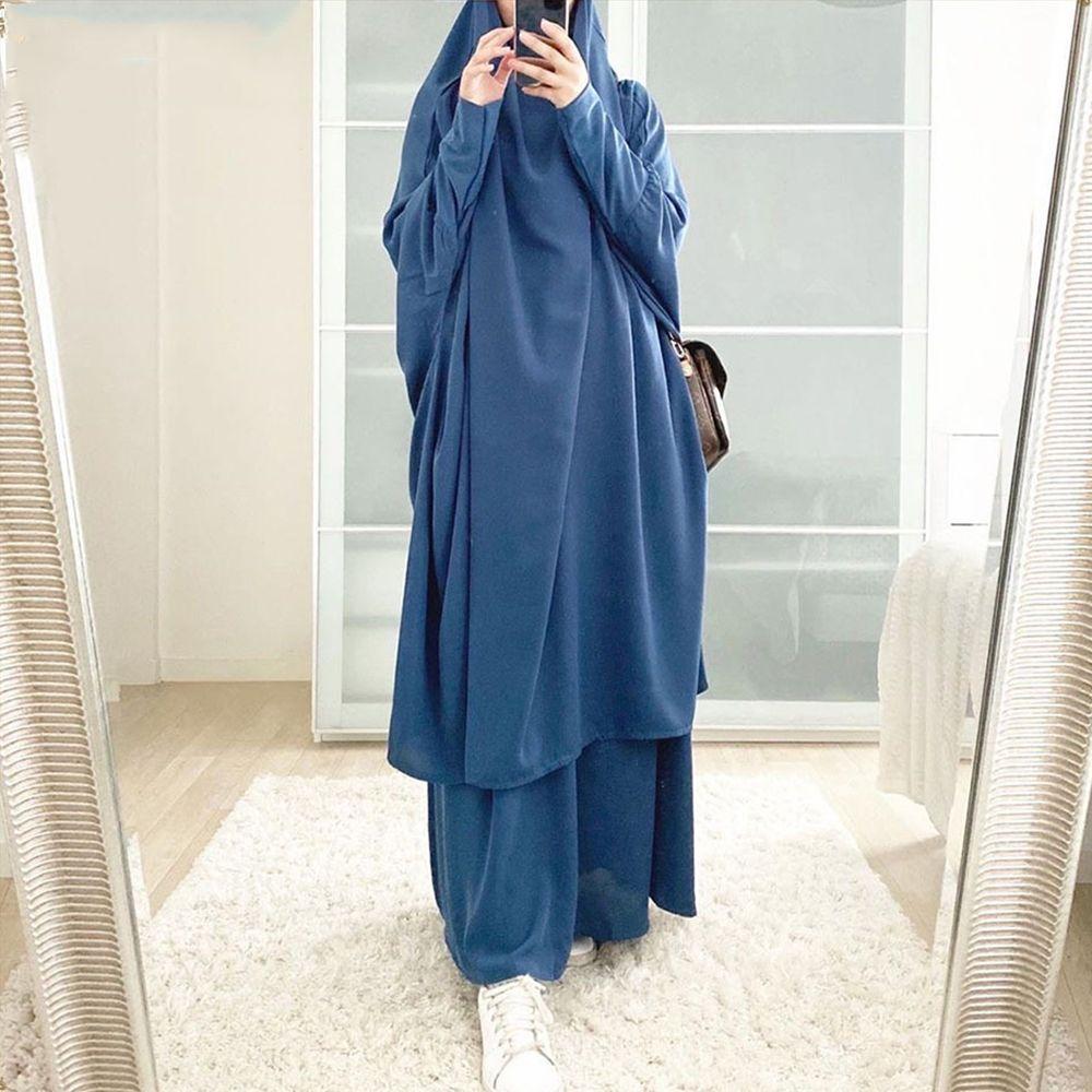 EID à capuche Musulman Femmes Musulman Hijab Vêtement de prière Jilbab Abaya Long Khimar Robe Ramadan Robe Abayas Jupe Ensembles Vêtements Islamic Niqab
