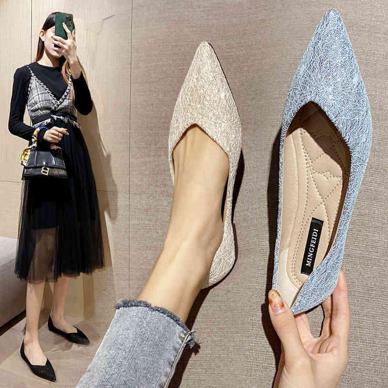 Sola plana solteira feminina 2021 primavera e outono nova joaninha sapatos versátil preto macio fundo raso apontado grande tamanho doudou