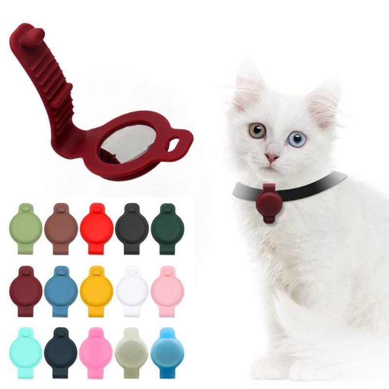 Colares de gatos lidera caso de proteção de silicone compatível para a Apple AirTag GPS Rastreamento Cão Collar Acessórios Pet Loop Holder