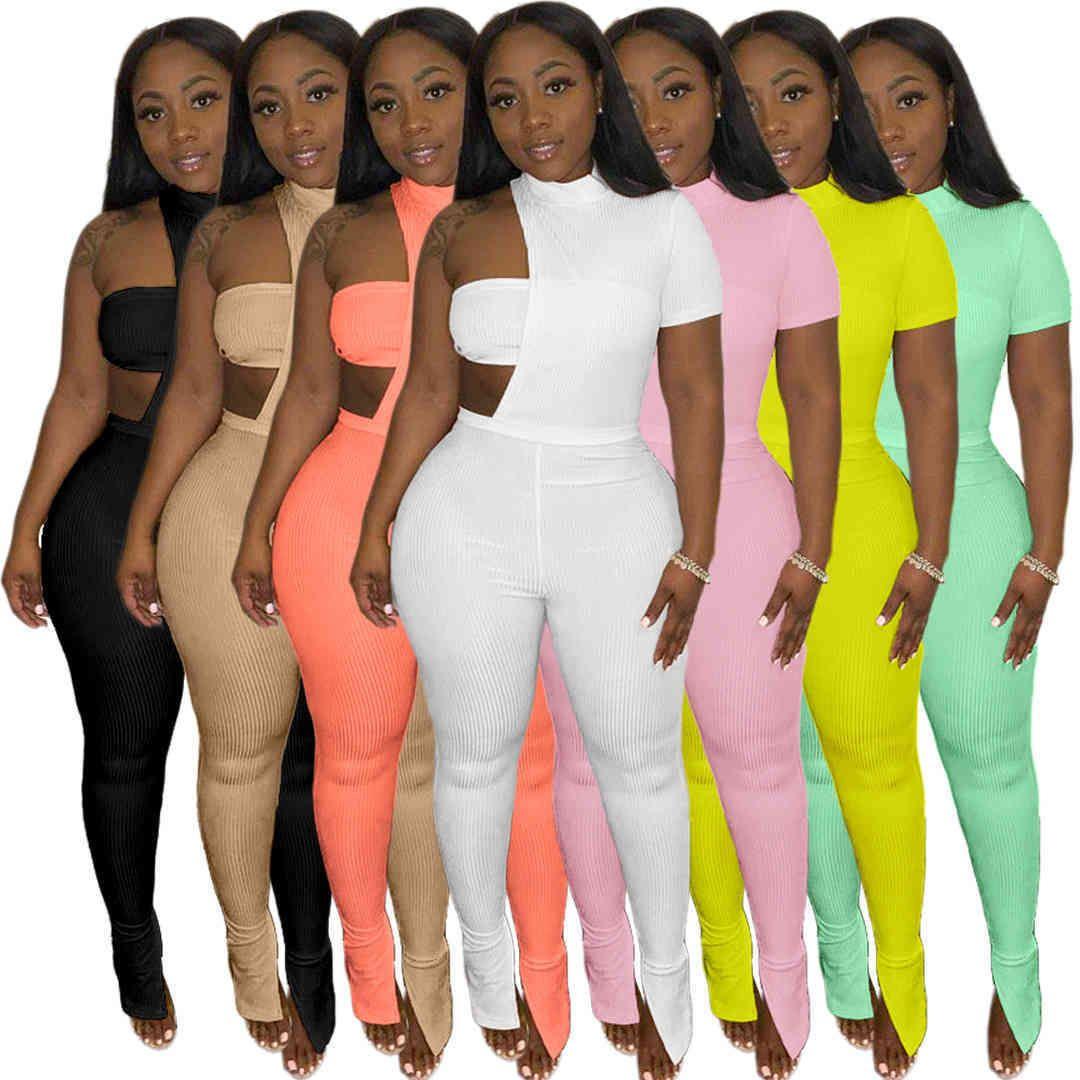 Women pants summer fashion 2021 asymmetric pit strip chest wrapped jacket split three piece suit