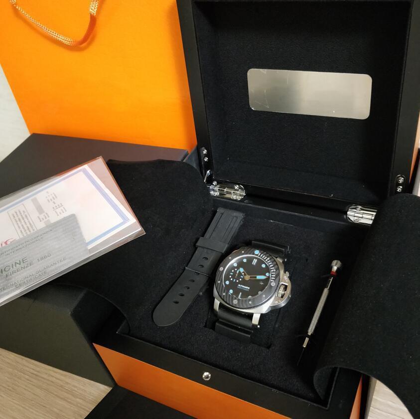 مصنع ووتش بيع 47 ملليمتر الأسود الوجه الشريط المطاط سوبر P 799 الميكانيكية التلقائي حركة أزياء رجالي ساعات مع صندوق أوريينا
