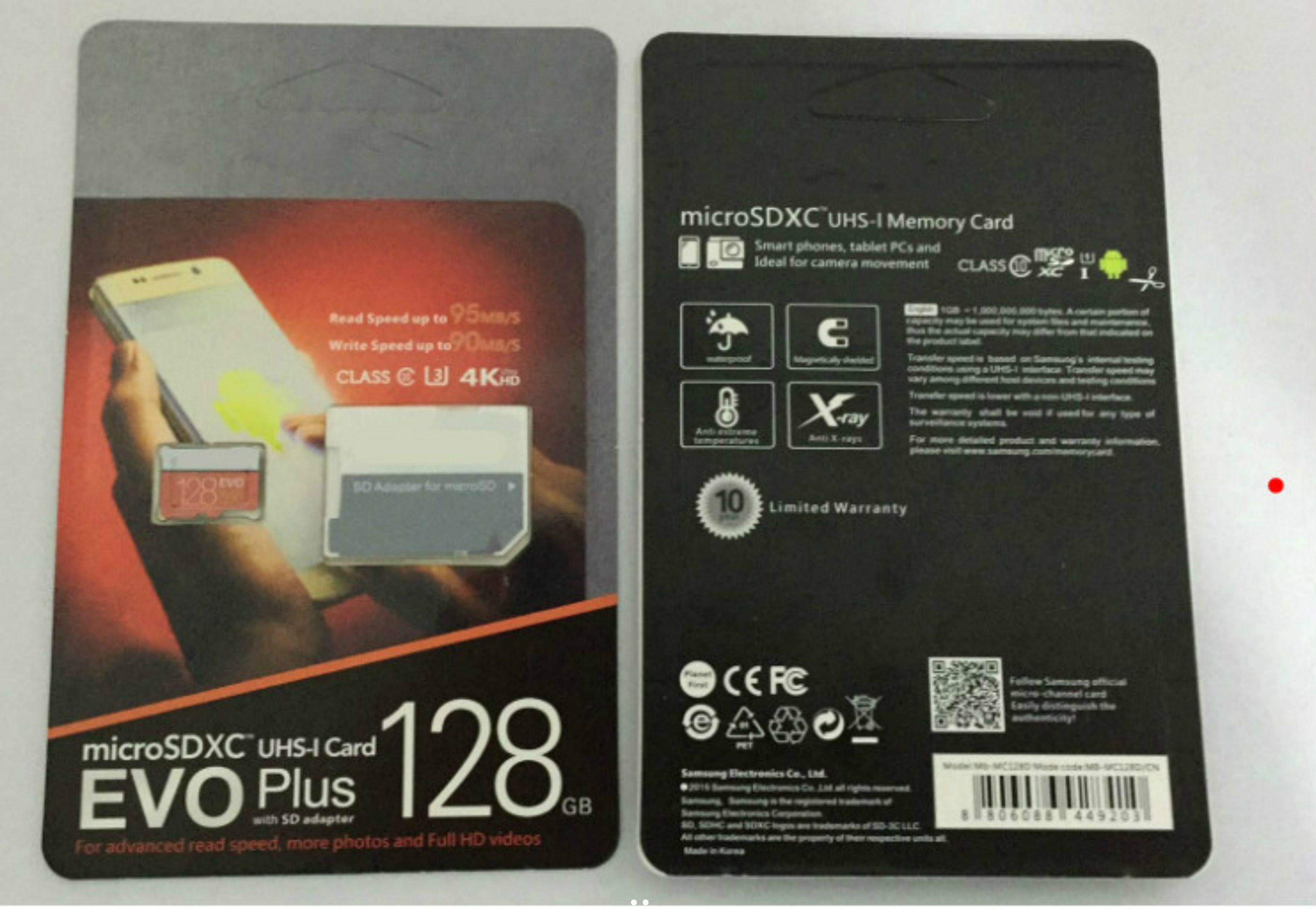 16G / 32GB / 64GB / 128GB / 256GB EVO + 플러스 마이크로 SD 카드 U3 / 스마트 폰 TF 카드 C10 / 자동차 레코더 SDXC 저장 카드 95MB / s