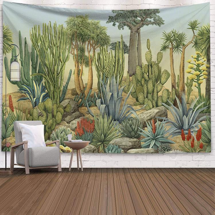 Tapisseries Summer Cactus Tapisserie Fresh Fresh Decor Tropical Paysage pique-nique Pique-nique