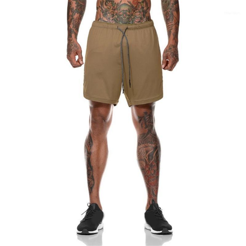 Mens Quick-drying Jogging Short Pants Double-layer Plus Size Fitness Training Breathable Sports Shorts Built-in Pocket