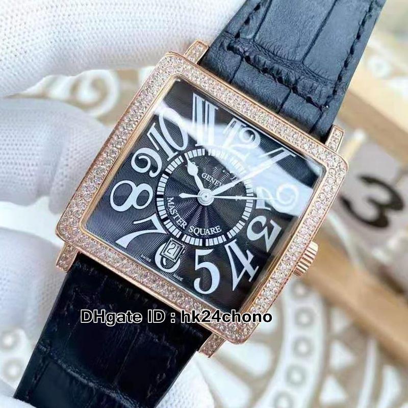 Plaza maestra de alta calidad 6000 H SC DT V D Reloj automático para hombres Diamante Bisel Negro Número Número Mark Rose Gold Gents Relojes