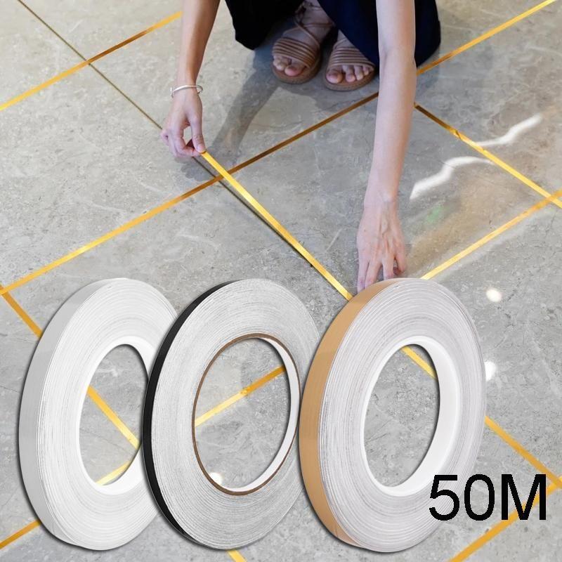 Pegatinas de pared 50M baldosas de cerámica a prueba de huecos a prueba de huecos Decoración autoadhesivo Pegatina de piso Decoraciones para el hogar