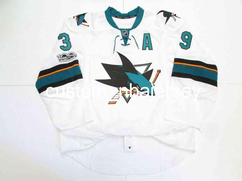 Ricamo Couture San Jose Sharks Away 100th Anniversary Jersey Hockey da uomo personalizzato Jersey Aggiungi qualsiasi Nome Numero