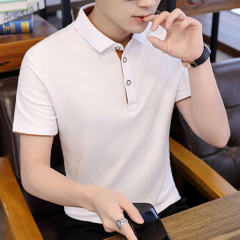 Polos 2021 летняя рубашка поло с коротким рукавом спортивная мода отворота футболка стройная мужская студенческая тенденция
