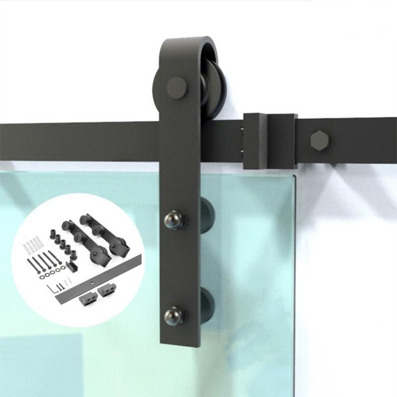 다른 도어 하드웨어 하드웨어 블랙 스틸 슬라이딩 헛간 유리 세트 현대적인 인테리어 트랙 키트