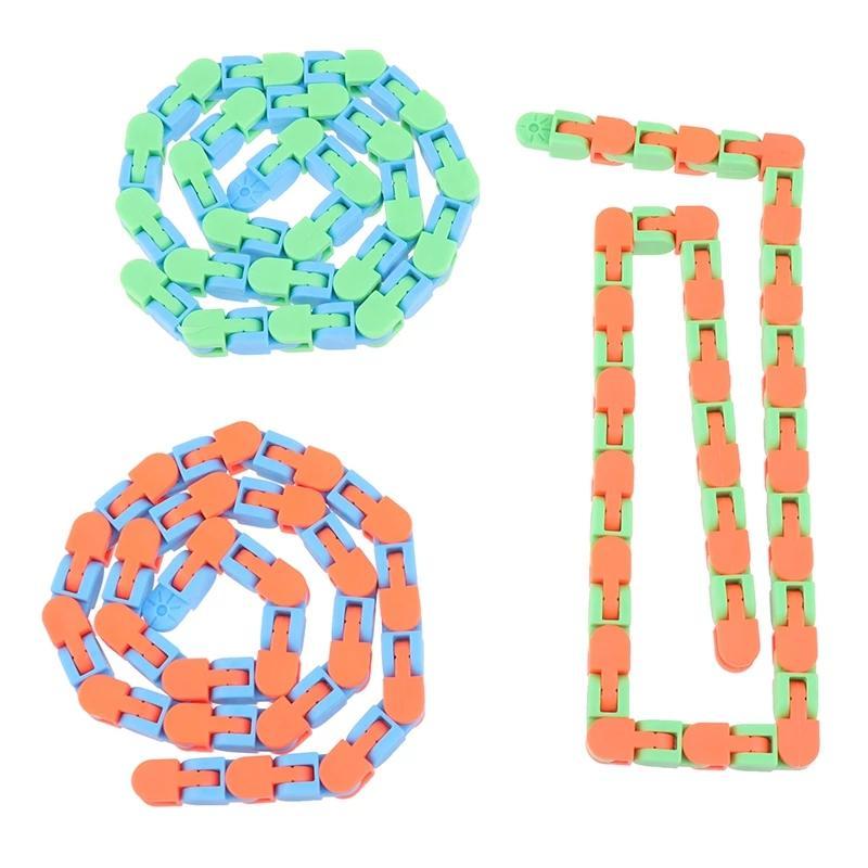 1 ADET Zincir Wacky Parçaları Yapış Tıklayın Fidget Oyuncaklar Anti Stres Çocuk Otizm Yılan Bulmacalar Klasik Duyusal Antistres Oyuncak