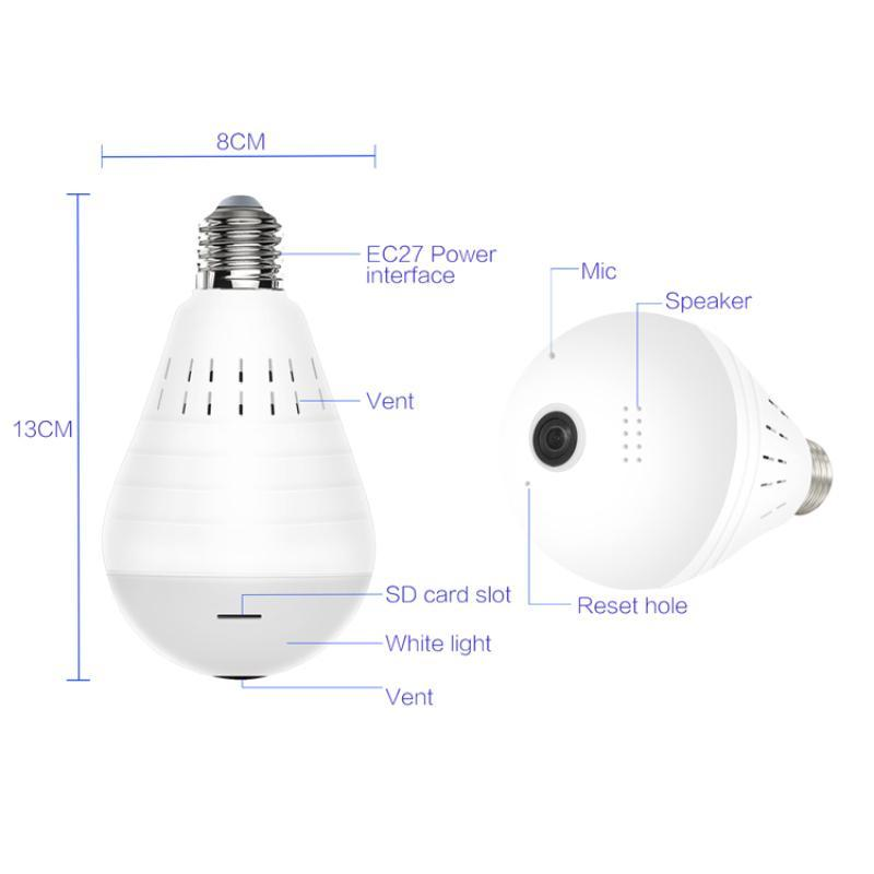 Mini cámara IP 360 grados LED LIGHT 960P Wireless Panoramic Security WiFi CCTV Fisheye Bulb Lámpara de dos maneras Cámaras de audio