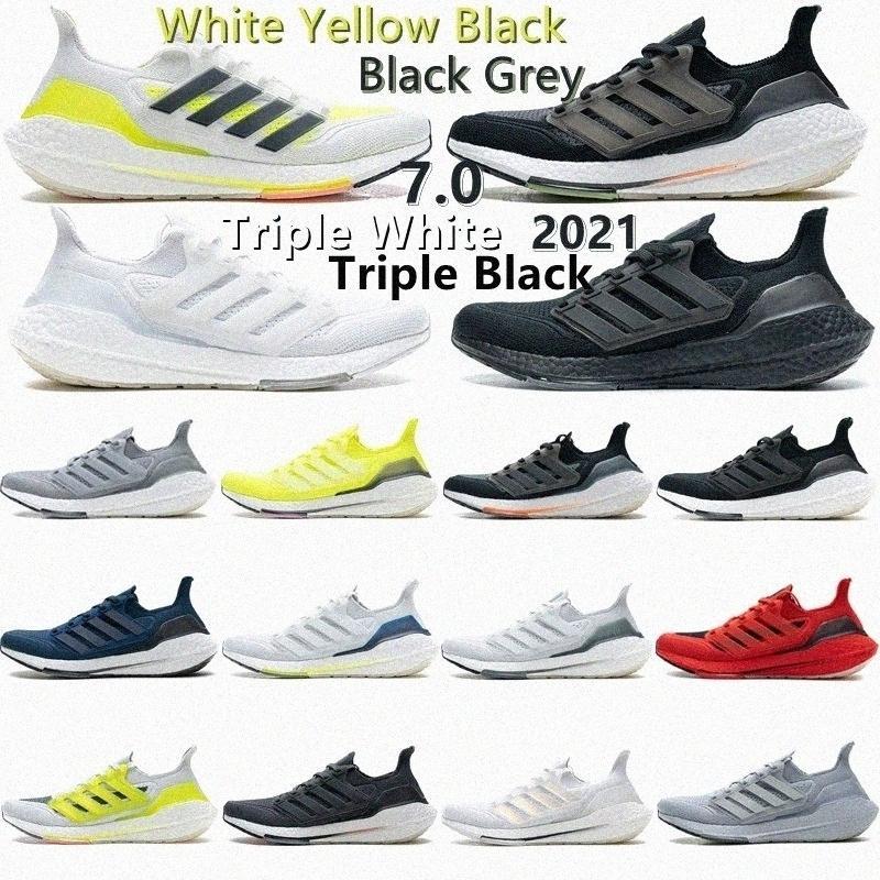 2021 Ultra Boosts Black Solar Herren Laufschuhe Gelb 7.0 Ultraboost Kern Dreibettzimmer White Grey Volt Sashiko Männer Frauen Trainer Sports Schuh