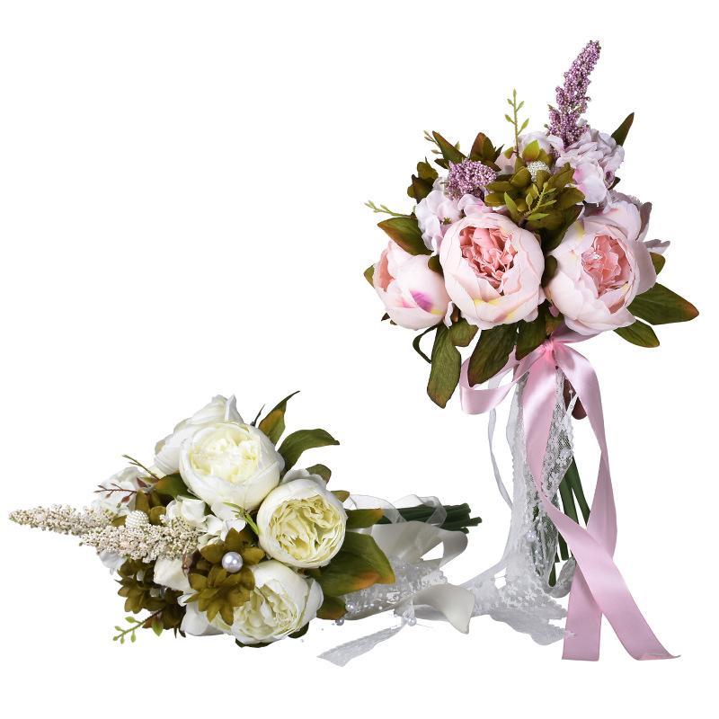 Artificial Bridal Bouquet Bride Wedding Flowers Green Leaf Ribbon Bow-knot Romantic Buque De Noiva 2 Colors White Pink W5561