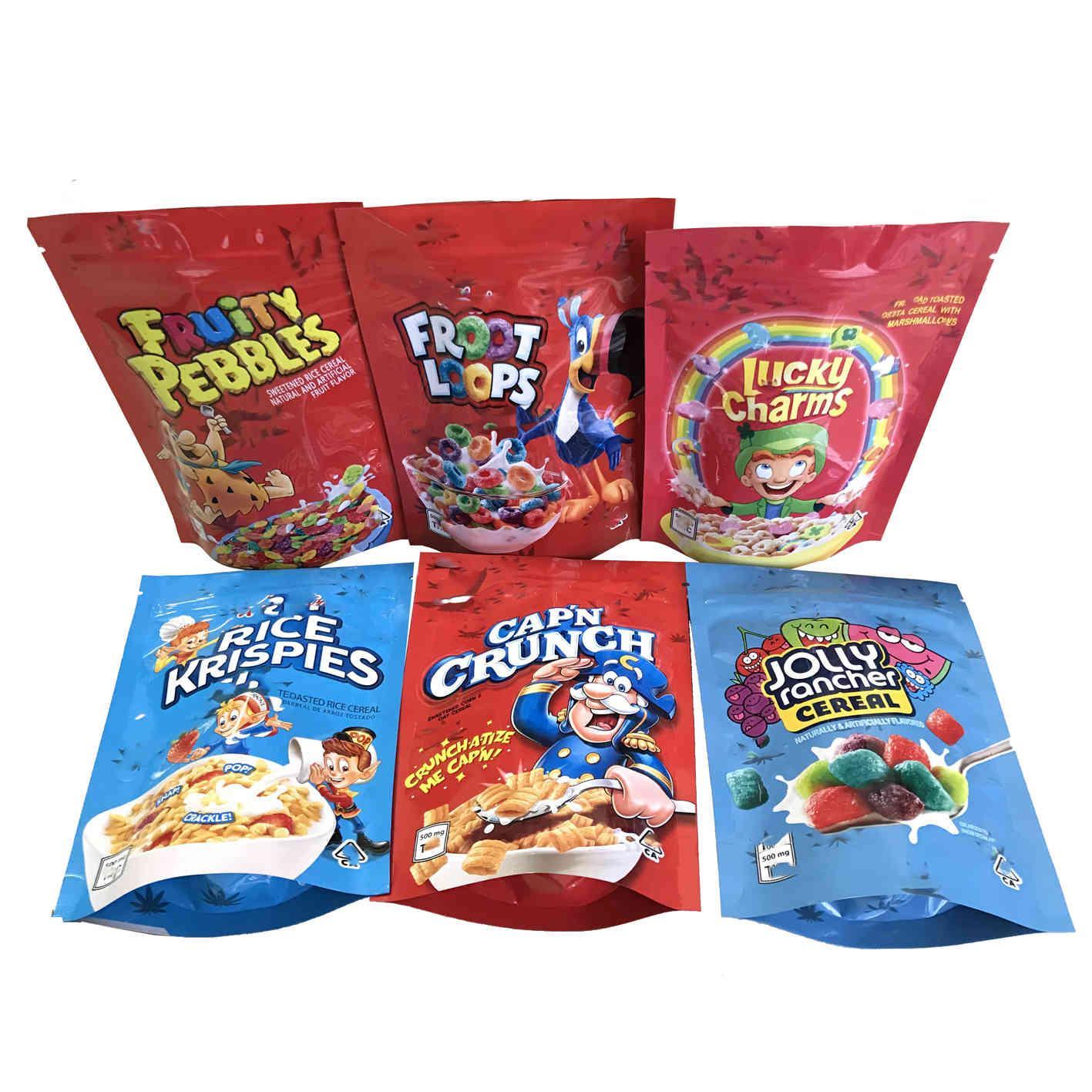 Leere glückliche Reize Taschen Frostschlaufen Cap'n Crunch fruchtige Kieselsteine Jolly Rancher Getreide Rice Krispies geröstet Mylar Tasche Verpackung AV14