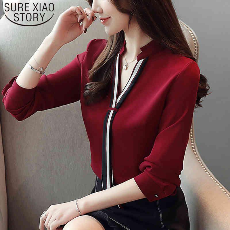 Mode Stehkragen Pullover Bluse Frauen Tops Chiffon Büro Dame Langarm Weiß Rot Damen Hemd Blusas Mujer 6469 50 210512