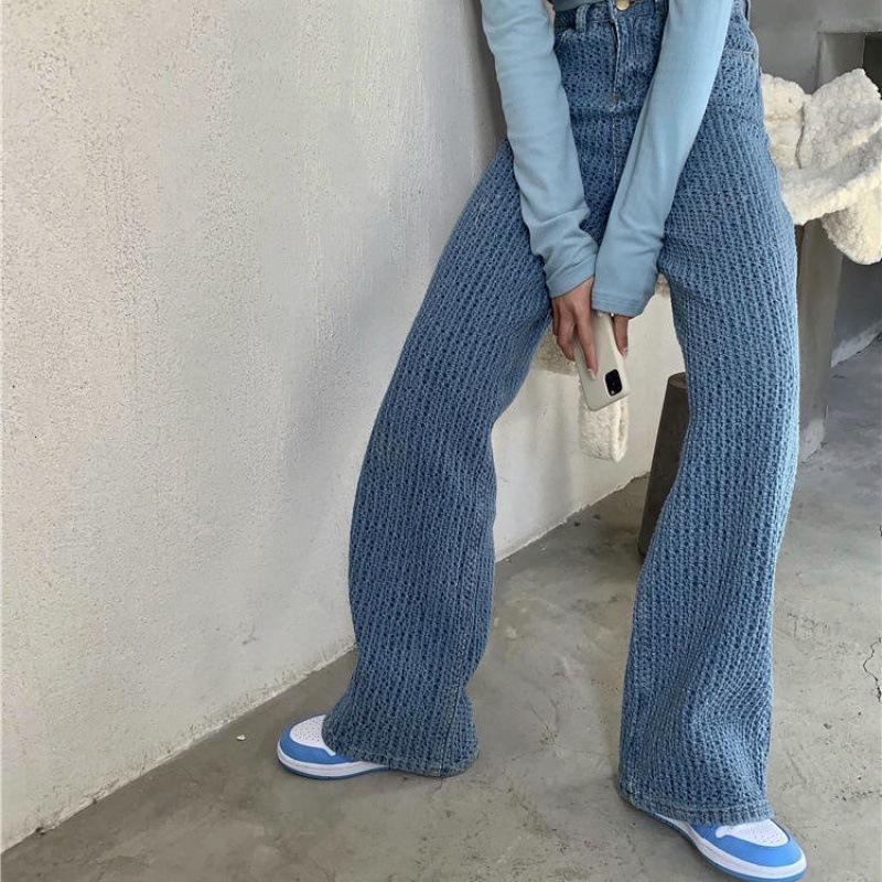 Spring drape Women's Jeans high waist loose fit denim straight pants for women