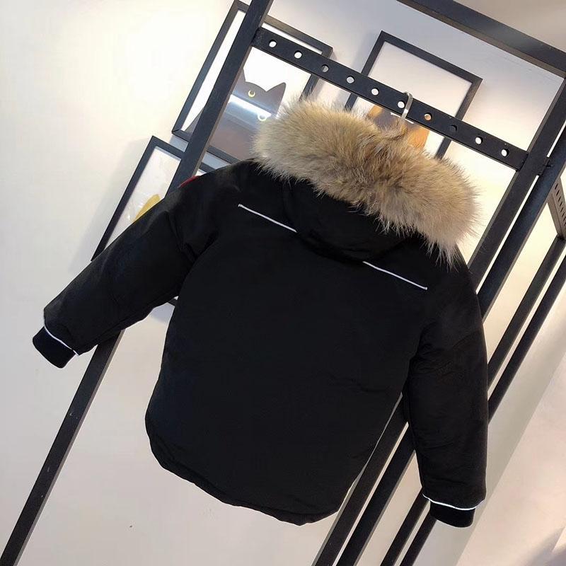 Дети вниз пальто Parkas зимний мальчик девушки куртки для мытья одежды дизайнер одежды теплые пальто дети носить куртку ребенка подросток 5 цветов 100-150