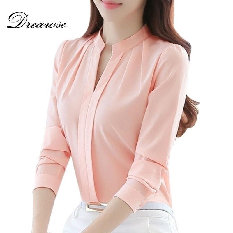 Dreawse İlkbahar Sonbahar Kadın Üstleri Uzun Kollu Rahat Şifon Bluz Kadın V Yaka İş Giyim Katı Renk Beyaz Ofis Gömlek 2550 210402