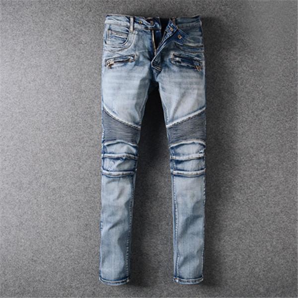 Nuevo estilo para hombre diseñador lápiz jeans marca lavado impreso blanco dril de mezclilla moda club de ropa para masculina motocicleta ciclista hip hop pantalones flacos size28-40