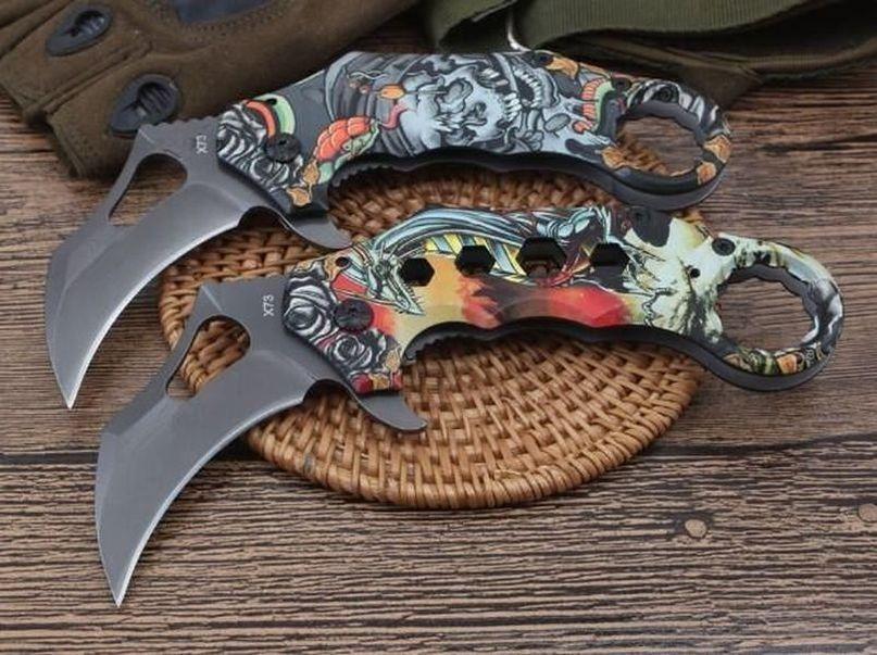 X73 Claw Karambit Knife Stonewash 440C Blade Tactical Pocket Folding Knife Hunting Fishing EDC Survival Tool Xmas Gift Knives a2241