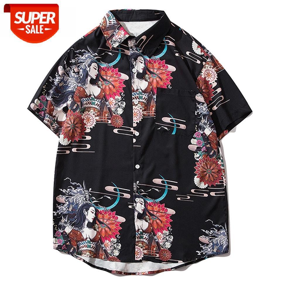 Hip Hop İhale Assassin Baskı Gömlek Japon Tarzı Hawaii 2020 Yaz Tops Streetwear Kısa Kollu # CF0F