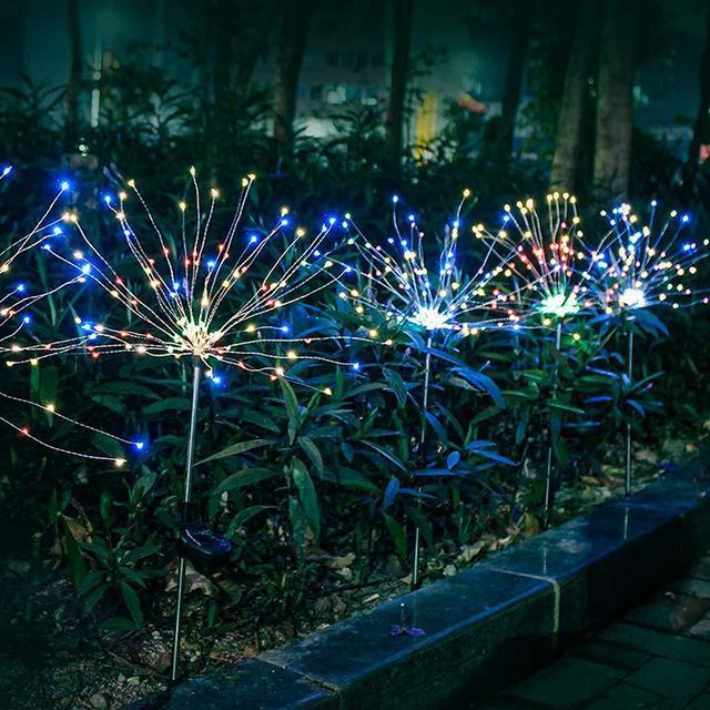 LED Güneş Işık Havai Fişekler Açık IP65 Su Geçirmez Bahçe Lambaları Tatil Chrismas RGB için Enerji Tasarrufu Çim Işıkları