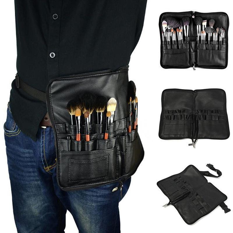 Outils de maquillage professionnel cuir cuir imperméable gros sacs cosmétiques artiste salon de toilette pochette de travail cordons de stockage organisateur de stockage