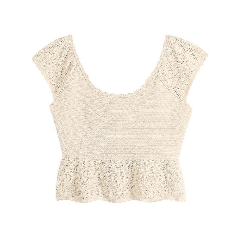 Women's Blouses & Shirts 2021 Summer Fashion Sleeve Hollow Round Neck Sleeveless Wild Short Slim Knit Top