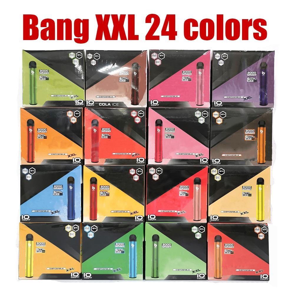 24 Cores Bang XXL Descartável E Cigarros Vape Pen Kit Plus XL Fluxo 2000Puffs 6ml Capacidade Vaporizador Bateria Vaporizador Fast Navio em estoque
