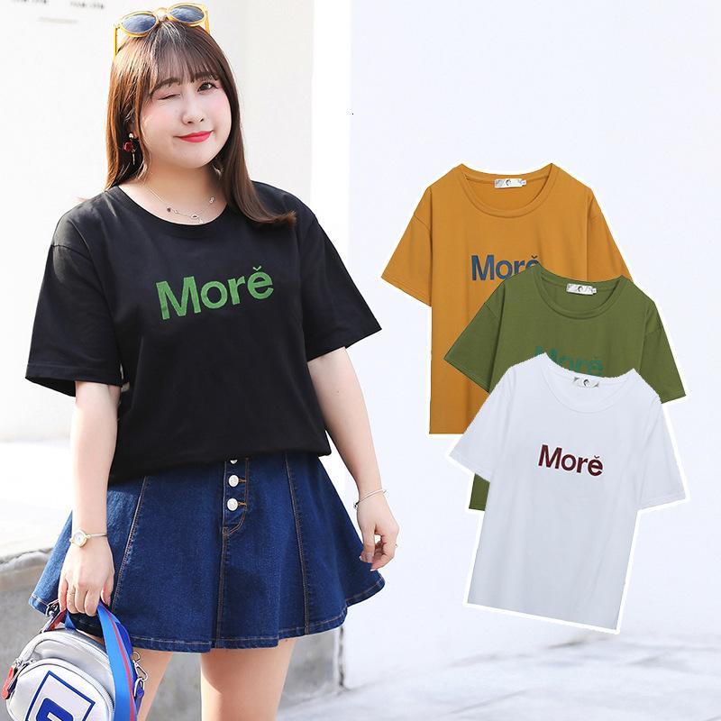 Xuanchen Chubby grande stile stile lettera stampata t-shirt estate nuovo ingrasso coreano top femmina w159