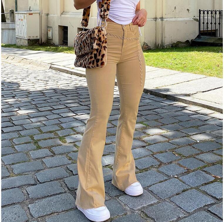 Cintura alta feminina queimou calça cáqui preto calças marrons mulheres calças jeans calças