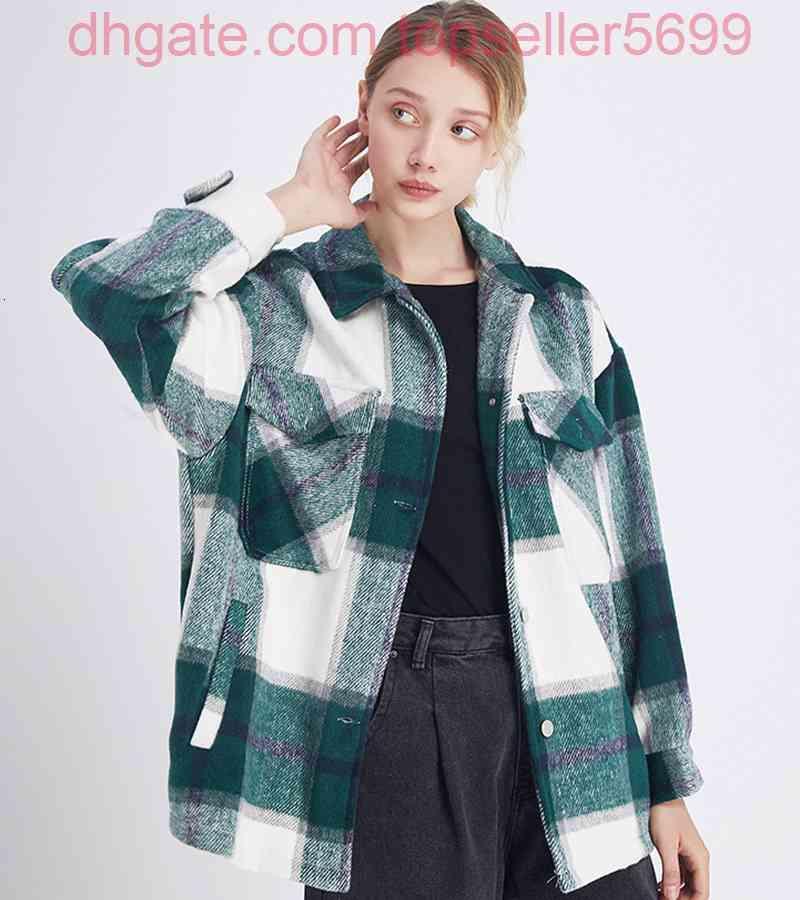Ekose Ceket Vintage Şık Cepler kadın Bluzlar Gömlek Boy Ceket Kadın Moda Yaka Yaka Uzun Kollu Gevşek Giyim Şık Tops