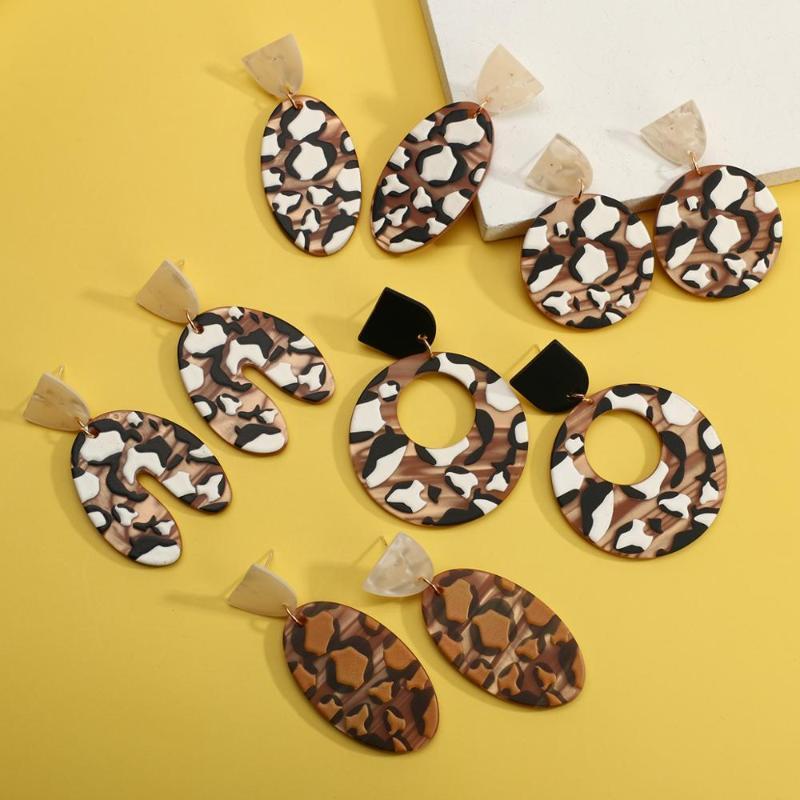 Kadın Akrilik Bırak Küpe Çikolata Krem Desen Geometrik Kolye Trendy Dangle Küpe Bildirimi Takı Avize