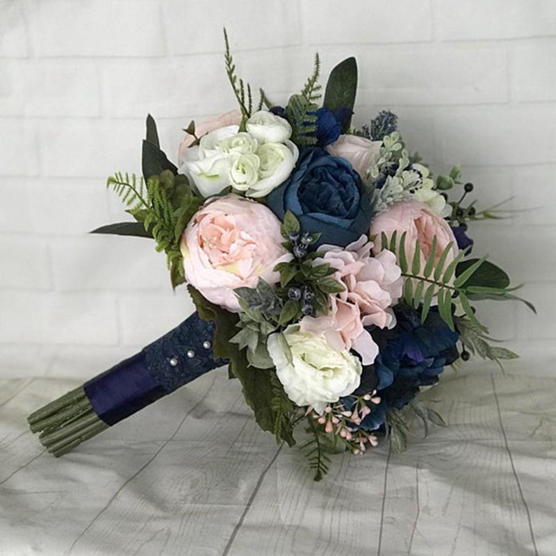 Lacivert Gelin Buketi Allık Gül Şakayık Nedime Düğün Çiçekleri Mariage Aksesuar Parti Dekorasyon De Novia