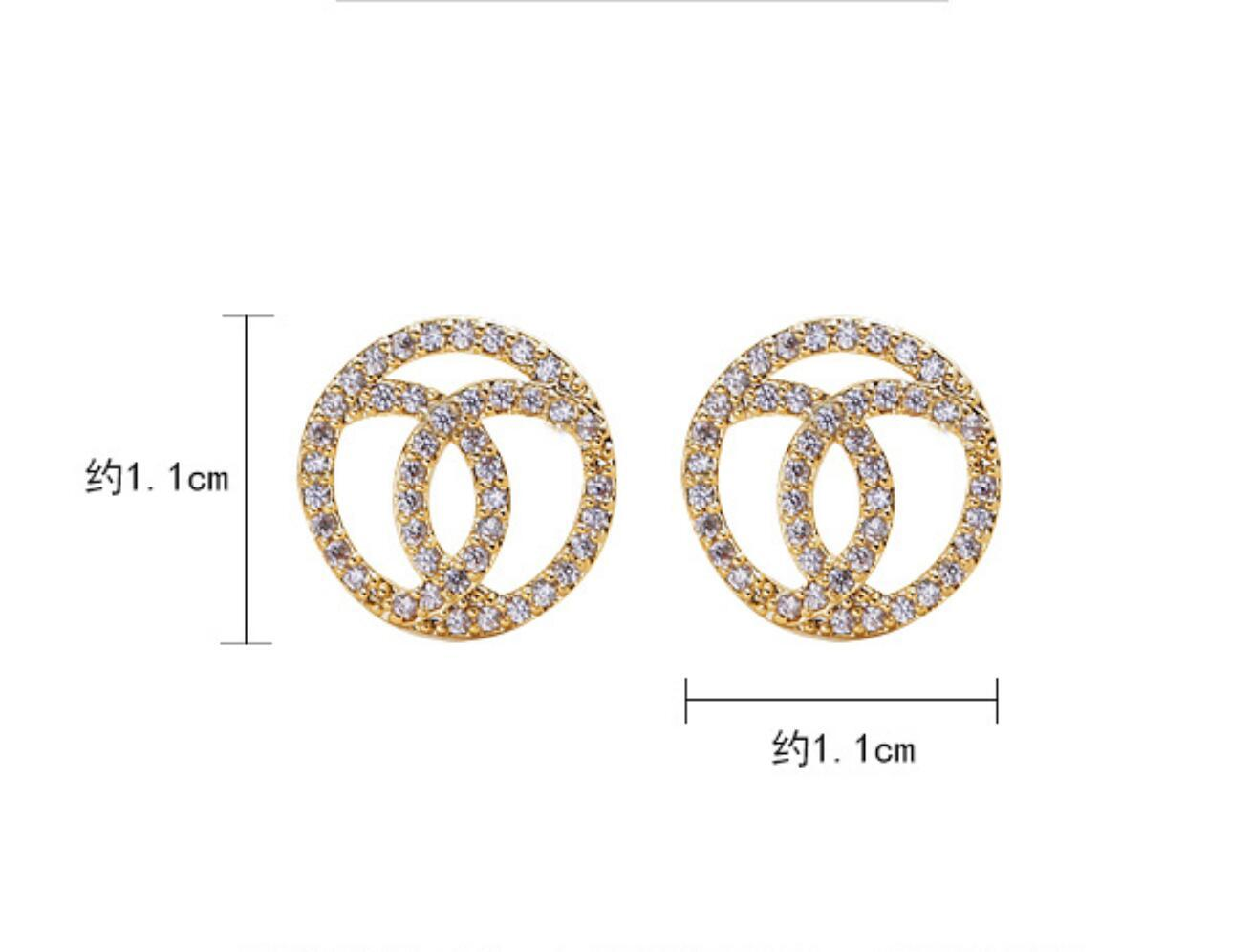 Small Gold Round Studs Simple Shine Zircon Stud Earrings 925 Silver Needle Earring for Women Jewelry Gift