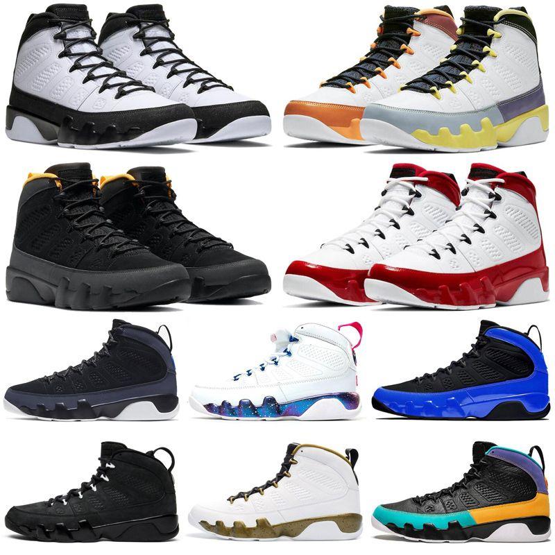 Jumpman 9 9S الرجال أحذية كرة السلة الجامعة الأزرق الذهب المتسابق رياضة حمراء تغيير رجل مدرب رياضي رياضي رياضي الحجم 7-13