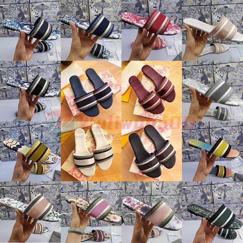 Mit Box Damen Hausschuhe Sommer Mode Luxus Designer Folien Für Frauen Flip Flops Sandale Brokat Gestreifte Buchstaben Flache Blumen Paris Loafers Größe 35-41
