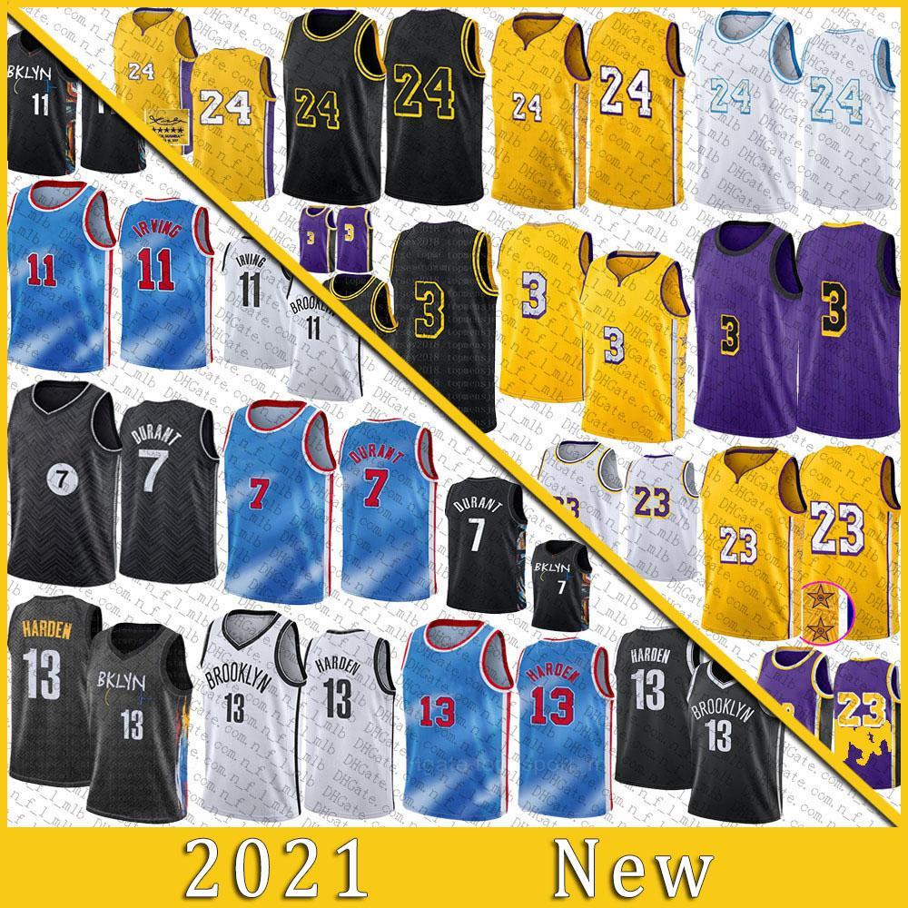 2021 Jersey de basquete de alta qualidade 7 Kyrie 11 Kevin Irving 13 Harden Durant Los 23 Angeles Anthony 3 Davis Kyle 0 Kuzma Mens Stitched Jerseys