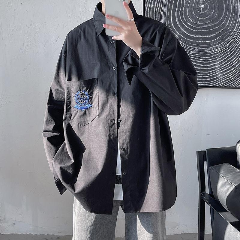봄 유니폼 수 놓은 유니섹스 긴 소매 셔츠 KPOP 휴일 영국 스타일 스마트 캐주얼 남성용 셔츠