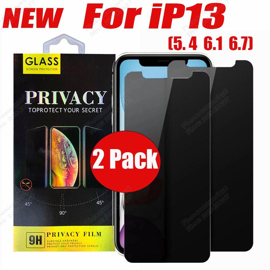 2 حزمة الخصوصية المضادة للزجاج المضاد للتجسس حامي الزجاج المقسى لفون 13 12 ميني برو ماكس 11 XR XS 6 7 8 زائد شاشة التجزئة مربع