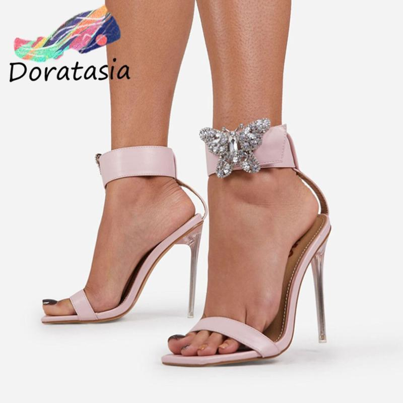 Sandalet Doratazya Marka Seksi Kadın Kelebek Ayakkabı Stiletto Topuk Parti Lüks Tasarım Açık Toe Rhinestone 0Obm
