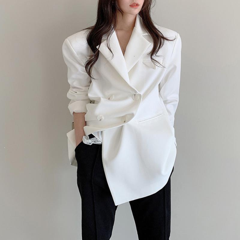 Anzüge Herbst Büro Dame Minimalist Frauen Jacke Blazer Formale Lose Elegante Zweireiher Anzug Mantel Solide stilvolle Outwear 67GA