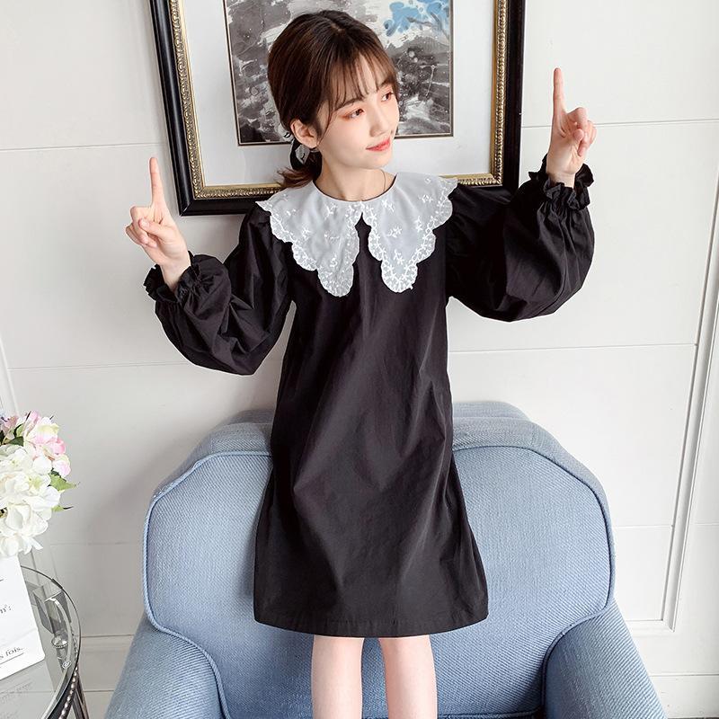 Niños Vestido Cuello de encaje Estilo occidental Niños Primavera y otoño Falda de manga larga para niña Bebé suelto de la niña