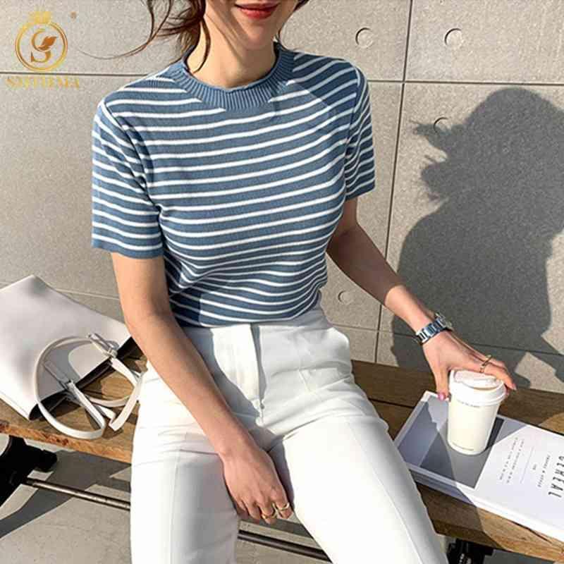 Mujer Moda de manga corta Rayas de verano Camiseta de verano Corea Chic Femenina Casual Tops Ropa 210520
