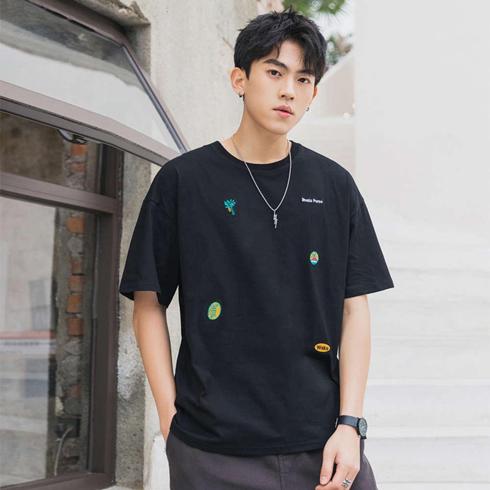 2021 Marke Mode Shirt Ärmeln T-Shirt Casual o Neck T-Shirt Schwarz Weiß Baumwolle Sommerkleidung Top T-Shirts Oversize M-5XL T-Shirts