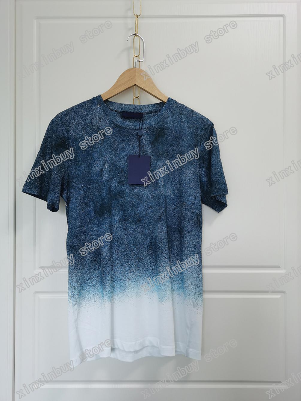 2021 Yeni Gelenler Erkek T Shirt Tee Paris Tik Tok Yıldızlı Gökyüzü Degrade Totem Tasarımcı Baskı Giysi Kısa Kollu Erkekler Kadınlar Gerçek