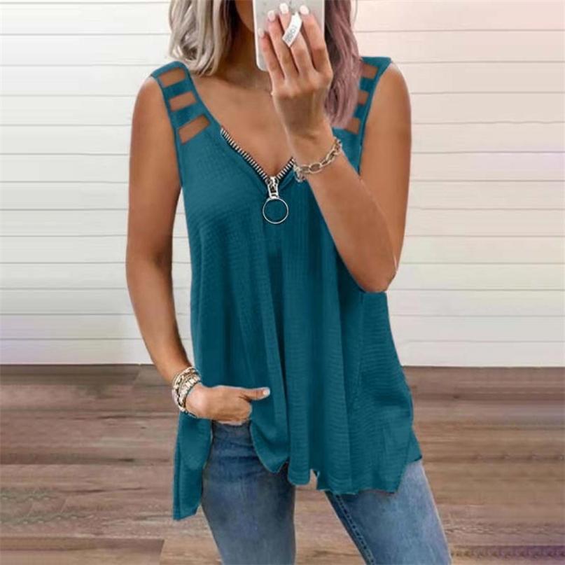 Reißverschluss V-Ausschnitt Solide Farbe Ärmellose Weste T-shirt Frauen Casual Lose Hohl Schultergurt Mode Streetwear Tops T Shirts 210603