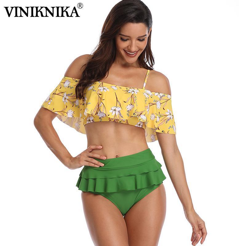 여성용 수영복 Viniknika 2021 섹시한 여성 비키니 세트 꽃 수영복 인쇄 솔리드 비키니 스 웨이스트 비치 착용 여성 Biquini