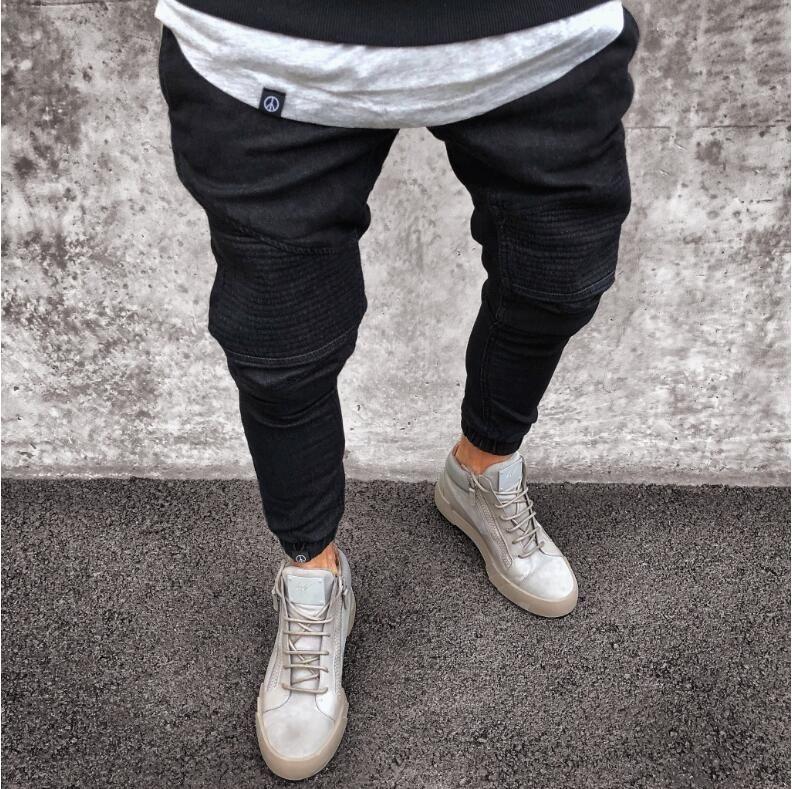 Jeans skinny masculinos moda trecho médio moto moto moto motociclista causal mens denim calças hip hop luz azul