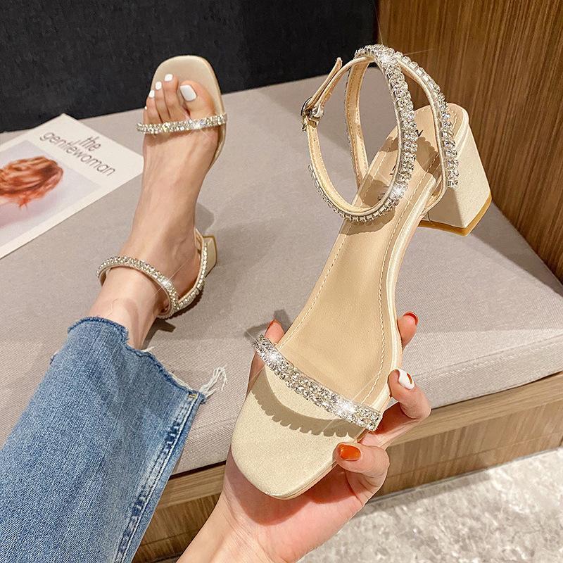 Beige talon sandales velours chaussures 2021 été ouverte orteil ornemensible bouche peu profonde bouche suède peedi peep filles bloquer strass robe com